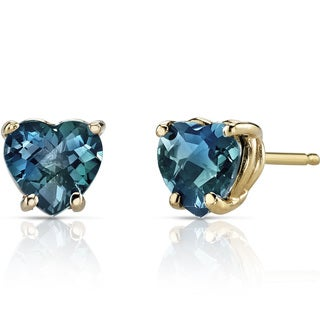 Oravo 14k Yellow Gold 2ct TGW London Blue Topaz Heart Shape Stud Earrings