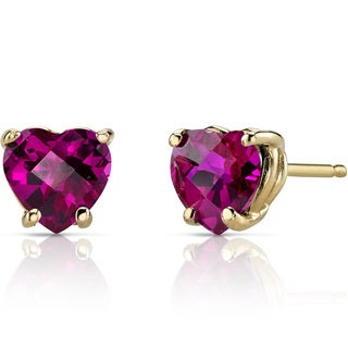 Oravo 14k Yellow Gold 2ct TGW Created Ruby Heart Shape Stud Earrings