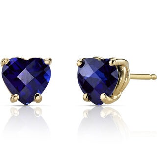 Oravo 14k Yellow Gold 2 1/2ct TGW Created Blue Sapphire Heart Shape Stud Earrings