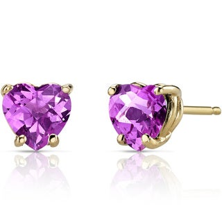 Oravo 14k Yellow Gold 2 1/4ct TGW Created Pink Sapphire Heart Shape Stud Earrings