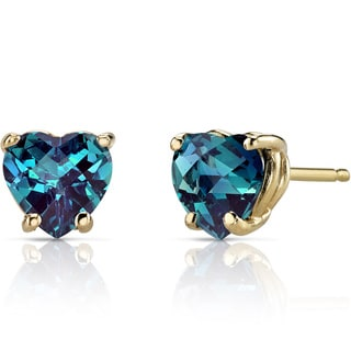 Oravo 14k Yellow Gold 2ct TGW Created Alexandrite Heart Shape Stud Earrings