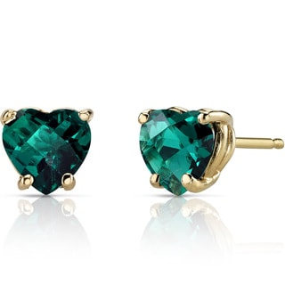 Oravo 14k Yellow Gold 1 1/2ct TGW Created Emerald Heart Shape Stud Earrings