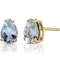 Oravo 14k Yellow Gold 1ct TGW Aquamarine Pear Shape Stud Earrings