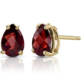 Oravo 14k Yellow Gold 1 3/4ct TGW Garnet Pear Shape Stud Earrings