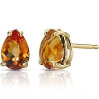 Oravo 14k Yellow Gold 1 1/4ct TGW Citrine Pear Shape Stud Earrings