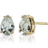 Oravo 14k Yellow Gold 1 1/2ct TGW Green Amethyst Pear Shape Stud Earrings