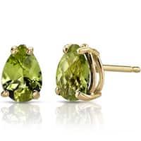 Oravo 14k Yellow Gold 1 1/2ct TGW Peridot Pear Shape Stud Earrings