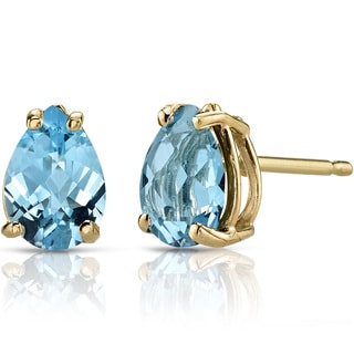 Oravo 14k Yellow Gold 1 1/2ct TGW Swiss Blue Topaz Pear Shape Stud Earrings