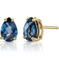 Oravo 14k Yellow Gold 1 1/2ct TGW London Blue Topaz Pear Shape Stud Earrings
