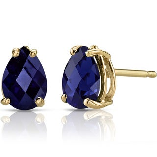 Oravo 14k Yellow Gold 2ct TGW Created Blue Sapphire Pear Shape Stud Earrings