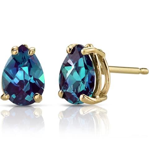 Oravo 14k Yellow Gold 1 3/4ct TGW Created Alexandrite Pear Shape Stud Earrings
