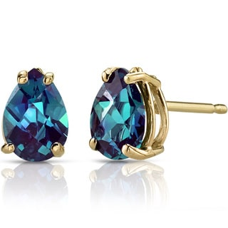 Oravo 14k Yellow Gold 1 3/4ct TGW Created Alexandrite Pear Shape Stud Earrings