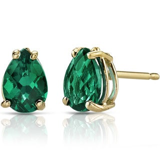 Oravo 14k Yellow Gold 1 1/4ct TGW Created Emerald Pear Shape Stud Earrings