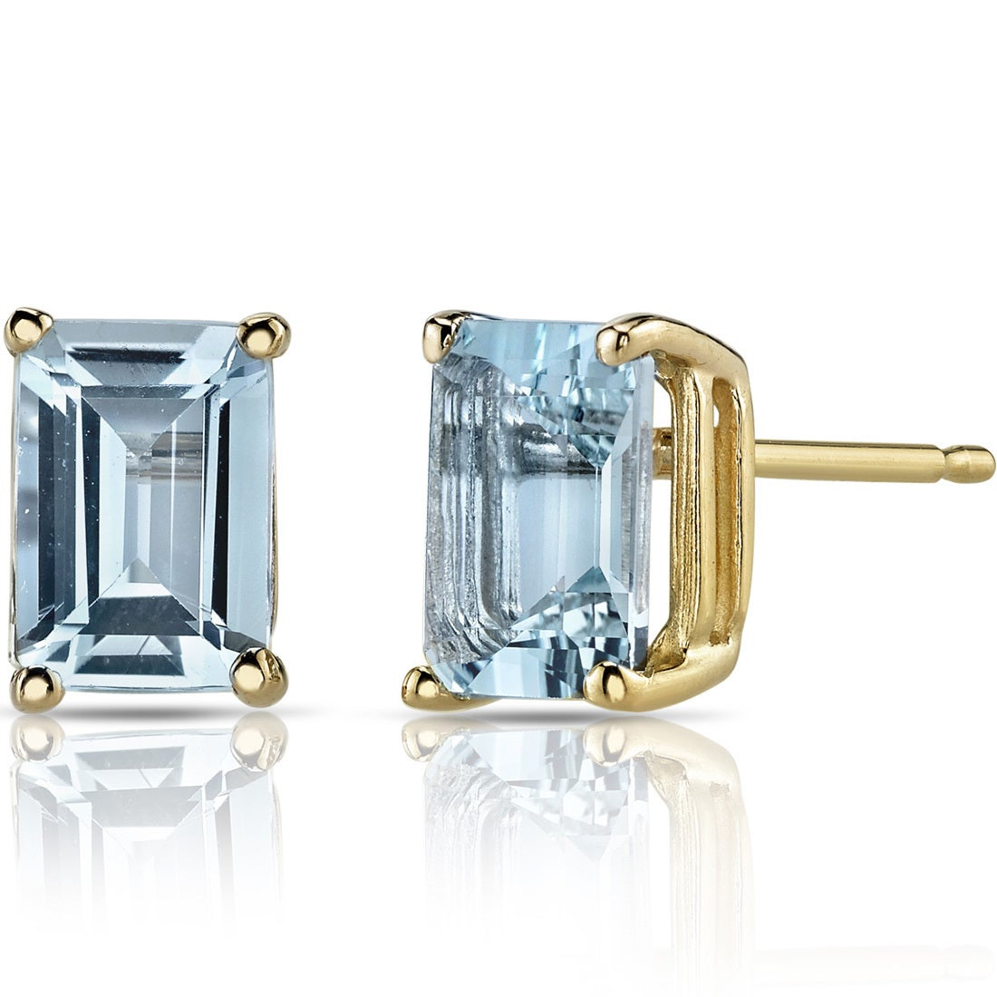 Details about  /1 Emerald Cut Solitaire Classic Stud Natural Aquamarine Earrings 14k Yellow Gold