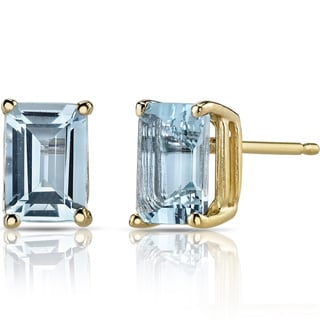Oravo 14k Yellow Gold 1 3/4ct TGW Aquamarine Emerald-cut Stud Earrings