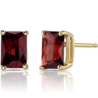 Oravo 14k Yellow Gold 2 1/2ct TGW Garnet Radiant-cut Stud Earrings