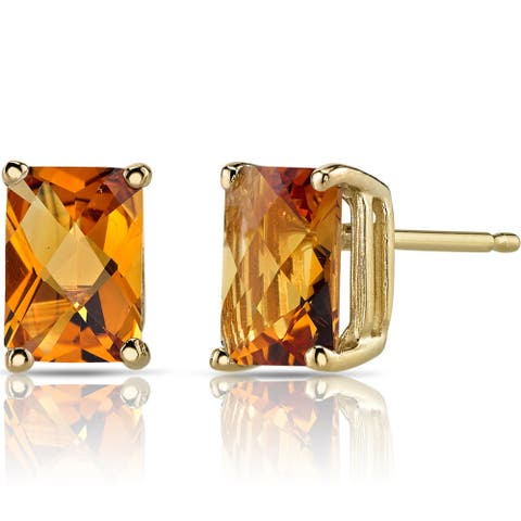 Oravo 14k Yellow Gold 1 3/4ct TGW Citrine Radiant-cut Stud Earrings