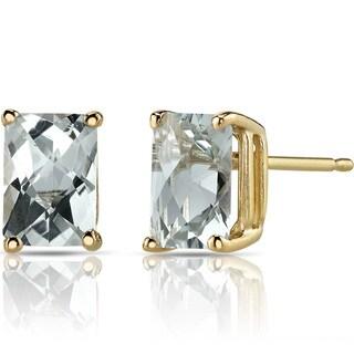 Oravo 14k Yellow Gold 1 3/4ct TGW Green Amethyst Radiant-cut Stud Earrings