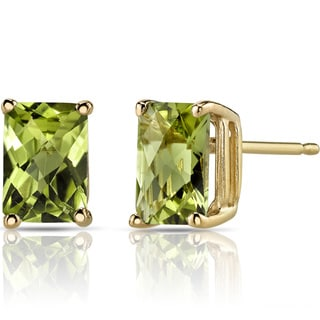Oravo 14k Yellow Gold 2ct TGW Peridot Radiant-cut Stud Earrings