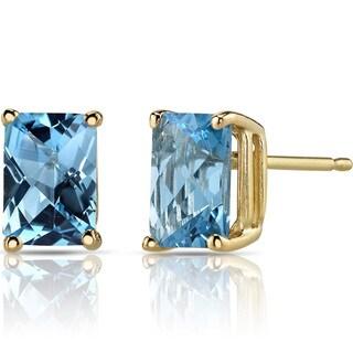 Oravo 14k Yellow Gold 2 1/4ct TGW Swiss Blue Topaz Radiant-cut Stud Earrings