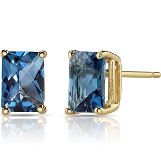 Oravo 14k Yellow Gold 2 1/4ct TGW London Blue Topaz Radiant-cut Stud Earrings