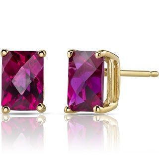 Oravo 14k Yellow Gold 2 1/2ct TGW Created Ruby Radiant-cut Stud Earrings