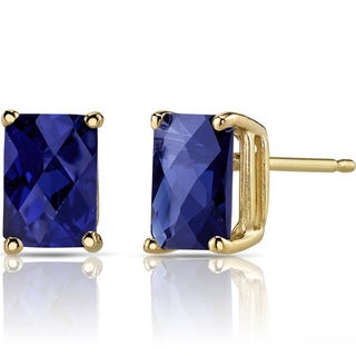 Oravo 14k Yellow Gold 2 1/2ct TGW Created Blue Sapphire Radiant-cut Stud Earrings