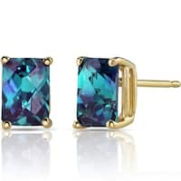 Oravo 14k Yellow Gold 2 1/2ct TGW Created Alexandrite Radiant-cut Stud Earrings
