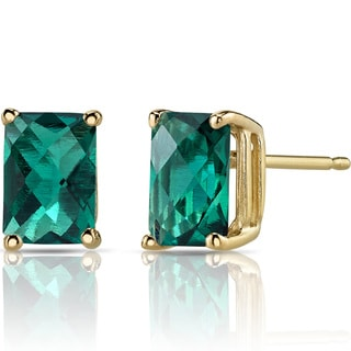 Oravo 14k Yellow Gold 1 3/4ct TGW Created Emerald Radiant-cut Stud Earrings
