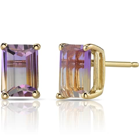 Oravo 14k Yellow Gold 2ct TGW Ametrine Emerald-cut Stud Earrings