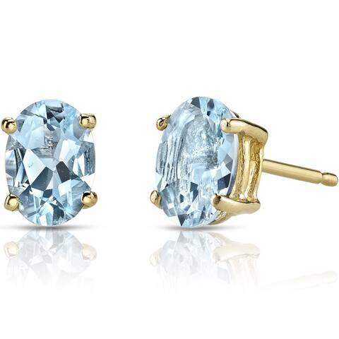 Oravo 14k Yellow Gold 1 1/4ct TGW Aquamarine Oval Shape Stud Earrings