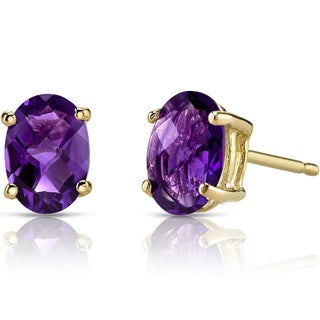 Oravo 14k Yellow Gold 1 1/2ct TGW Amethyst Oval Shape Stud Earrings