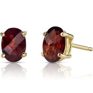 Oravo 14k Yellow Gold 2ct TGW Garnet Oval Shape Stud Earrings