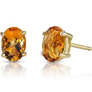 Oravo 14k Yellow Gold 1 1/2ct TGW Citrine Oval Shape Stud Earrings