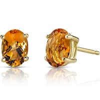 Oravo 14k Yellow Gold 1 1/2ct TGW Citrine Oval Shape Stud Earrings