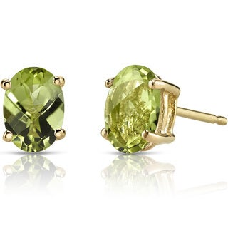 Oravo 14k Yellow Gold 2ct TGW Peridot Oval Shape Stud Earrings