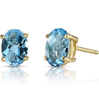 Oravo 14k Yellow Gold 2ct TGW Swiss Blue Topaz Oval Shape Stud Earrings