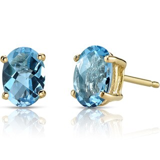 Oravo 14k Yellow Gold 2ct TGW Swiss Blue Topaz Oval Shape Stud Earrings