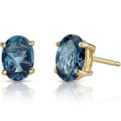Oravo 14k Yellow Gold 1 3/4ct TGW London Blue Topaz Oval Shape Stud Earrings