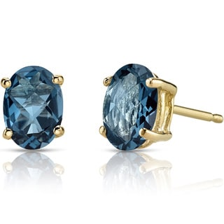 Oravo 14k Yellow Gold 1 3/4ct TGW London Blue Topaz Oval Shape Stud Earrings