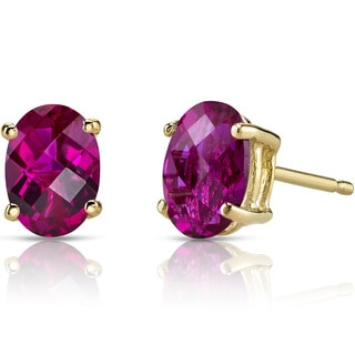 Oravo 14k Yellow Gold 2ct TGW Created Ruby Oval Shape Stud Earrings