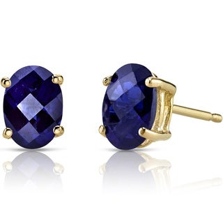 Oravo 14k Yellow Gold 2ct TGW Created Blue Sapphire Oval Shape Stud Earrings