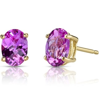 Oravo 14k Yellow Gold 2ct TGW Created Pink Sapphire Oval Shape Stud Earrings