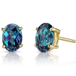 Oravo 14k Yellow Gold 2ct TGW Created Alexandrite Oval Shape Stud Earrings