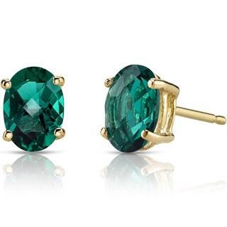 Oravo 14k Yellow Gold 1 1/2ct TGW Created Emerald Oval Shape Stud Earrings