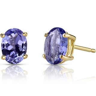 Oravo 14k Yellow Gold 1 1/2ct TGW Tanzanite Oval Shape Stud Earrings