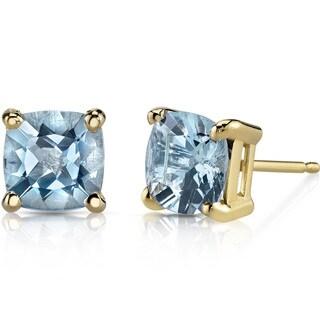 Oravo 14k Yellow Gold 1 1/2ct TGW Aquamarine Cushion-cut Stud Earrings