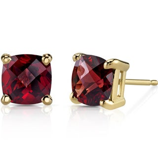 Oravo 14k Yellow Gold 2 1/2ct TGW Garnet Cushion-cut Stud Earrings