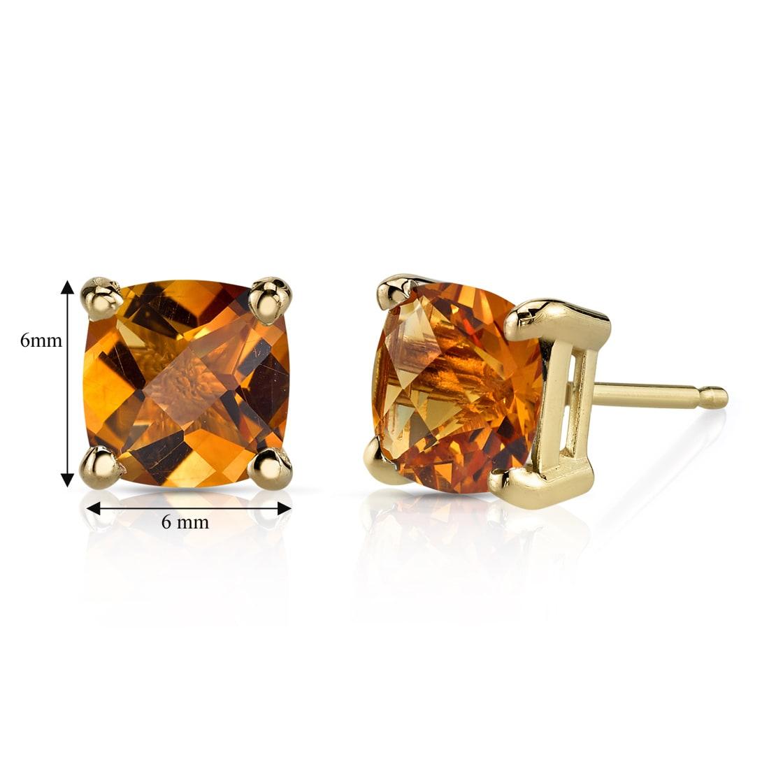2ct Cushion Cut Yellow Citrine Diamond Halo Stud Earrings 14k White Gold Finish