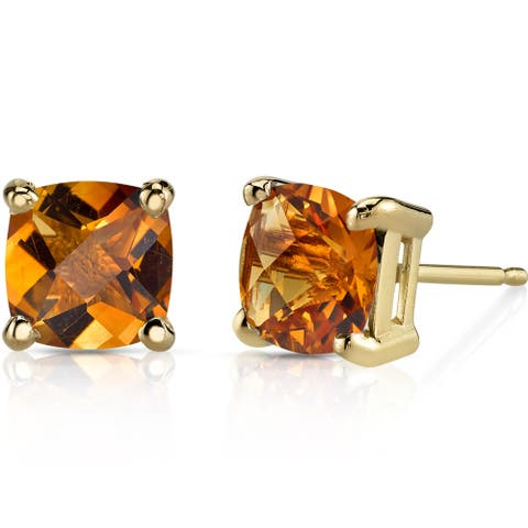 Oravo 14k Yellow Gold 1 3/4ct TGW Citrine Cushion-cut Stud Earrings